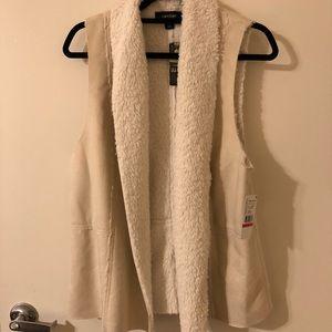 Karen Kane Camel and Cream Faux Suede Vest